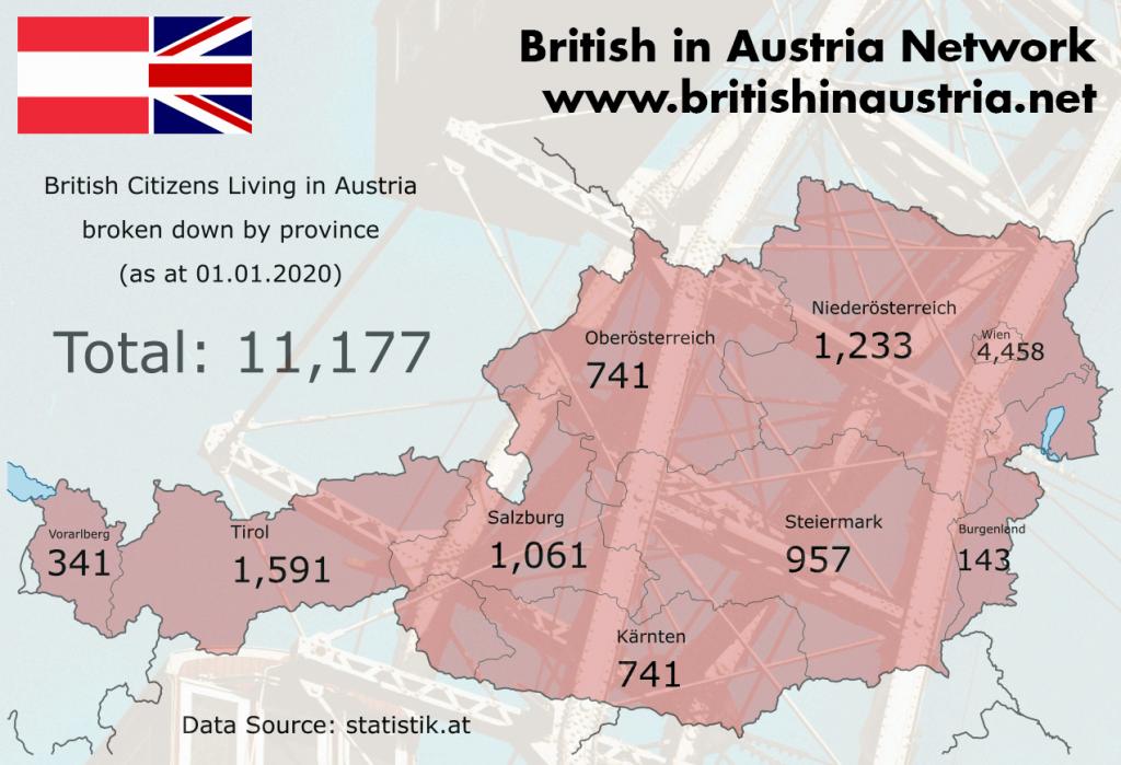 British Citizens in Austria 2020 - broken down by province