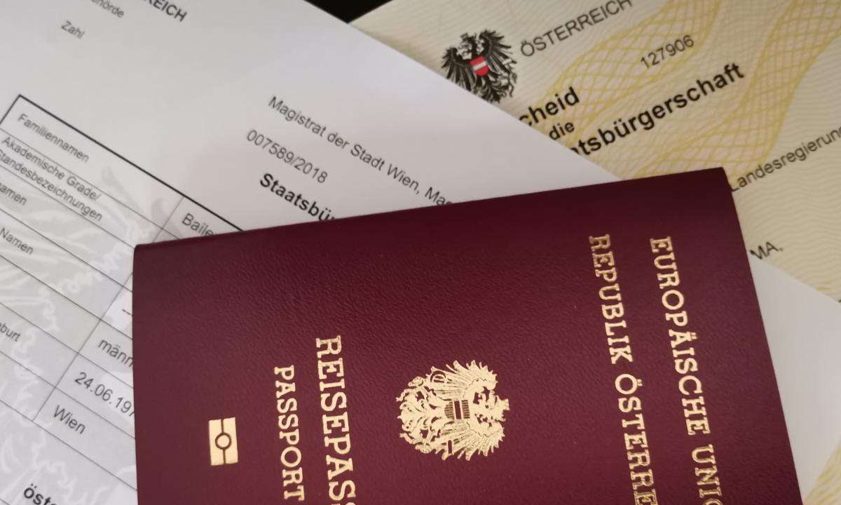 Staatsbürgerschaftsnachweis, Reisepass und Verleihungsbescheid